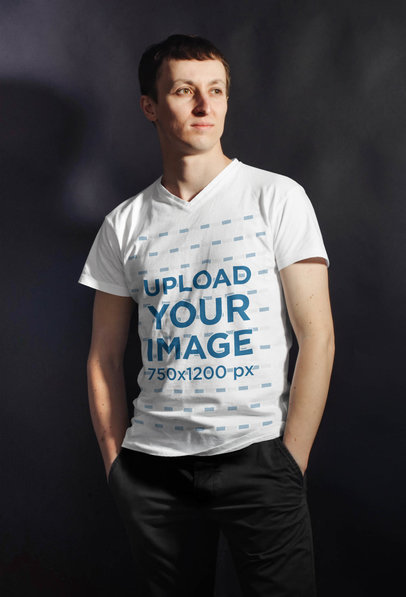 V-Neck T-Shirt Mockup of a Man in a Studio with a Strong Light 43480-r-el2