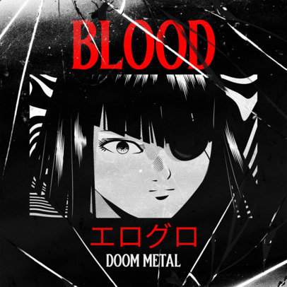 Metal Album Cover Maker Featuring Dark Anime Characters 3327
