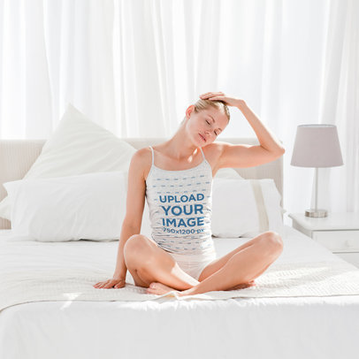 Camisole Tank Top Mockup of a Woman Doing Yoga in an All-White Bedroom 46442-r-el2
