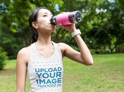 Tank Top Mockup of a Woman Drinking Water at a Park 46884-r-el2