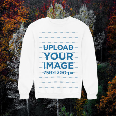 Mockup of a Sweatshirt with a Customizable Background Featuring Autumn Landscapes m1102
