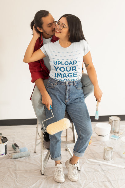 T-Shirt Mockup of a Young Long-Haired Woman With Her Boyfriend m1082