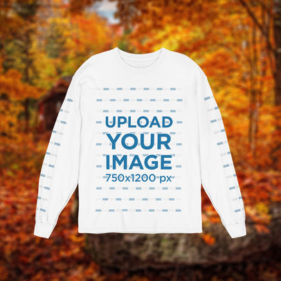 Long Sleeve Tee Mockup Featuring a Fall-Themed Background m1104