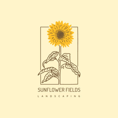 Landscaping Logo Maker Featuring a Sunflower Illustration 4009i