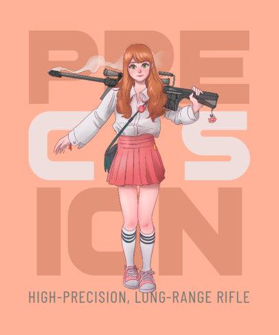 Anime-Themed T-Shirt Design Creator Featuring an Armed School Girl 3332c