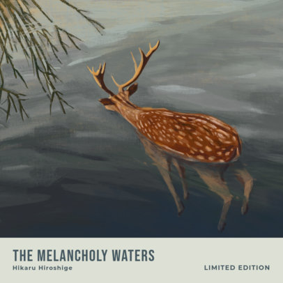 Soul Album Cover Template Featuring a Painting of a Deer 3319b