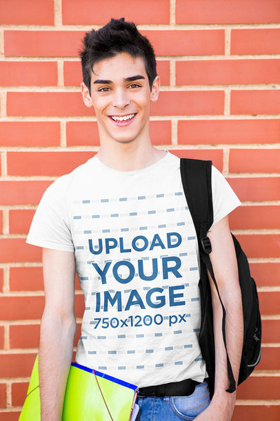 T-Shirt Mockup of a Young Man Ready to School 40895-r-el1