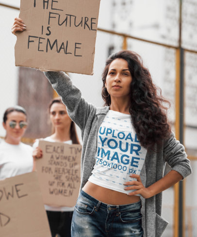 T-Shirt Mockup of a Woman at a Protest with a Feminist Sign 46676-r-el2