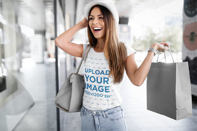 T-Shirt Mockup Featuring a Happy Woman Shopping 43038-r-el2