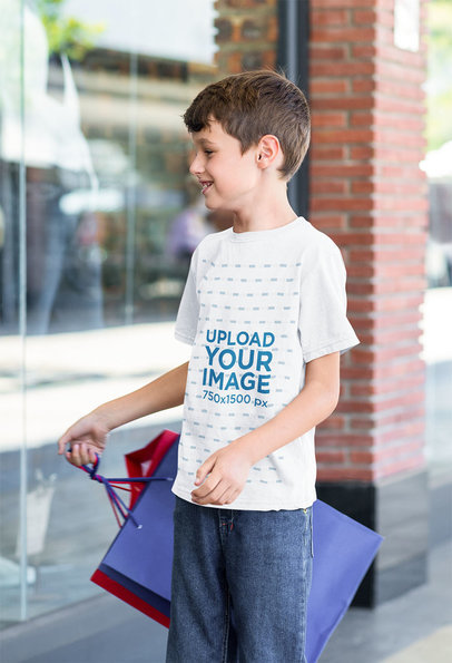 T-Shirt Mockup Featuring a Boy Shopping 41497-r-el2