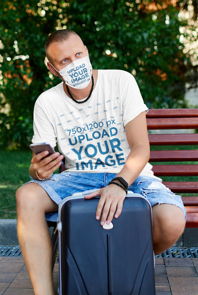 T-Shirt and Face Mask Mockup Featuring a Man Traveling 43726-r-el2