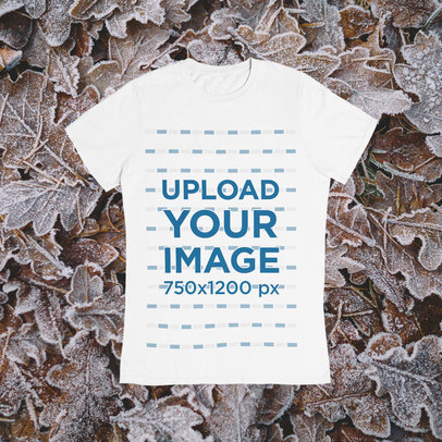 T-Shirt Mockup Featuring a Customizable Background With a Winter Theme m1292