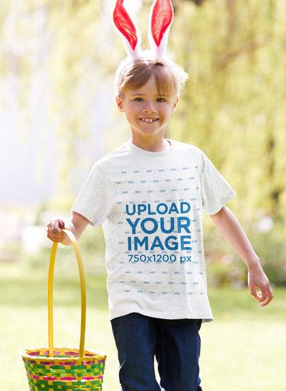 T-Shirt Mockup of a Boy Celebrating Easter Egg Hunt with Bunny Ears 46706-r-el2