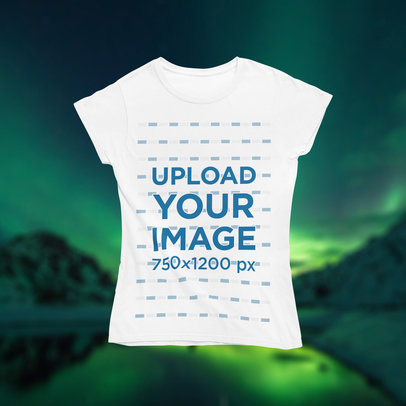 T-Shirt Mockup Featuring Northern Lights in the Background m1295
