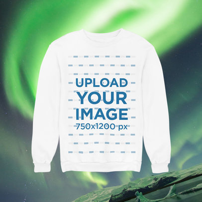 Sweatshirt Mockup Featuring a Customizable Background with a Winter Theme m1294