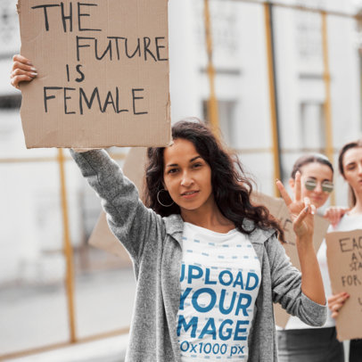 T-Shirt Mockup of a Woman in a Feminist Meeting 46755-r-el2