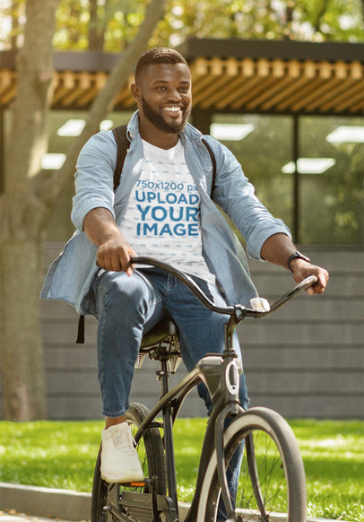 T-Shirt Mockup of a Happy Bearded Man Riding a Bicycle 44408-r-el2