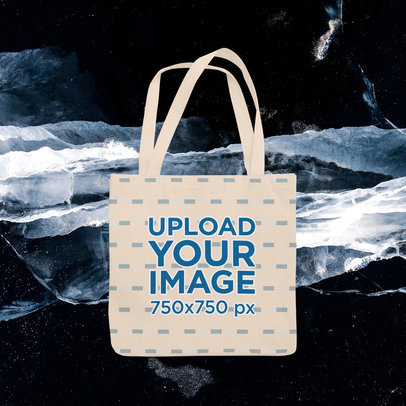 Sublimated Tote Bag Mockup Featuring a Winter Background m1287