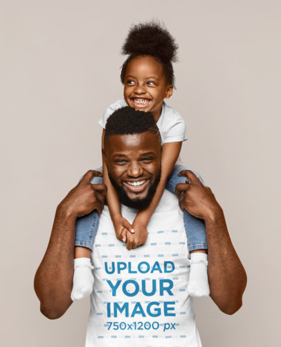 T-Shirt Mockup Featuring a Joyful Dad With His Daughter 46089-r-el2