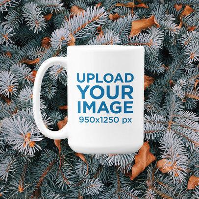 15 oz Coffee Mug Mockup with a Customizable Winter Background m1288