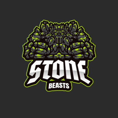 Gaming Team Logo Maker Featuring a Fierce Stone Golem 3420d-el1