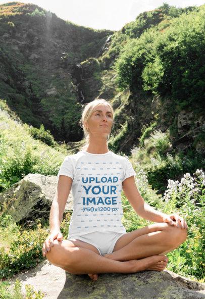 T-Shirt Mockup of a Woman Meditating on a Hill 45582-r-el2