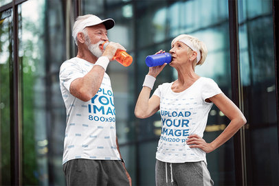 T-Shirt Mockup Featuring Two Athletic Seniors Drinking Water 46257-r-el2