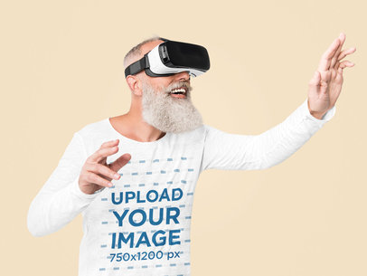 Long Sleeve Tee Mockup of an Elderly Man with a Virtual Reality Headset 45812-r-el2