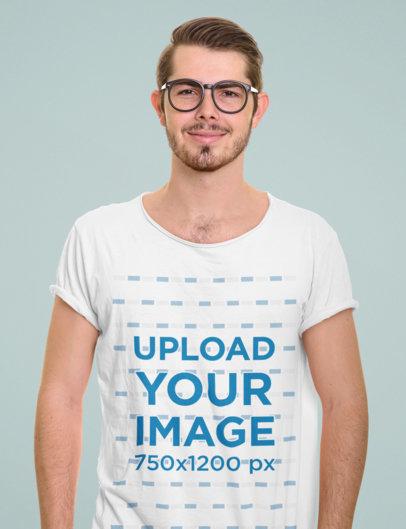 T-Shirt Mockup Featuring a Man with Glasses at a Studio 46746-r-el2