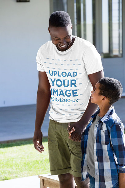 T-Shirt Mockup of a Happy Man with His Son 40619-r-el2