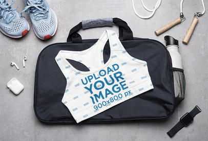 Sports Bra Mockup Featuring a Woman's Gym Equipment M1209