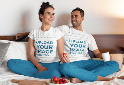 Pajamas T-Shirt Mockup of a Happy Couple Watching TV in their Bedroom m768