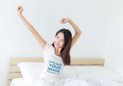 T-Shirt Mockup of a Happy Woman Waking Up in Her Bed 46718 r-el2