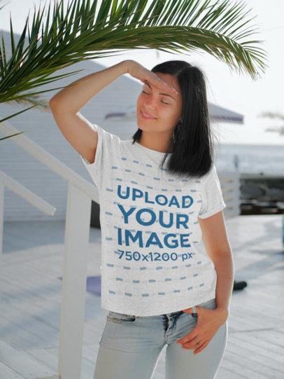 T-Shirt Mockup of a Woman Posing at a Pier 45646-r-el2