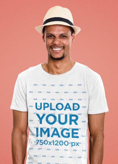 T-Shirt Mockup of a Happy Man Wearing a Havana Hat 46790-r-el2