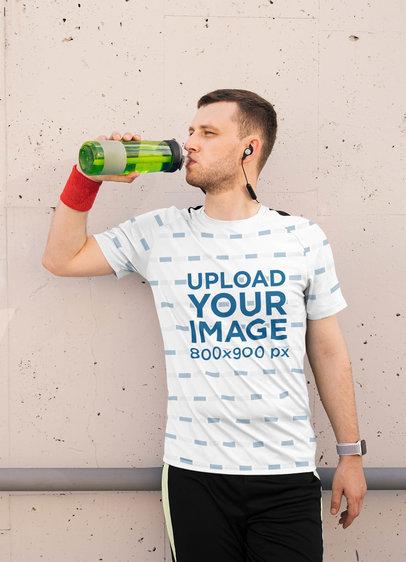 Sublimated T-Shirt Mockup of a Man Drinking Water 40598-r-el2