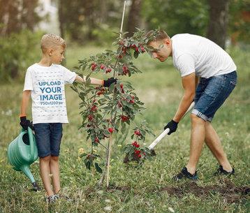 T-Shirt Mockup of a Kid Helping His Dad Gardening 42692-r-el2