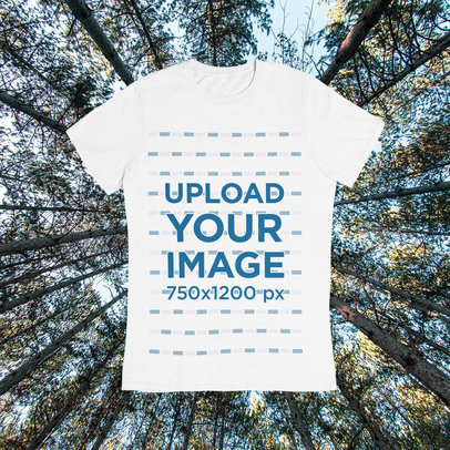 Spring-Themed T-Shirt Mockup Featuring a Customizable Background m1418