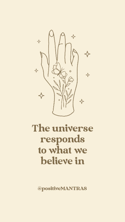 Instagram Story Maker Featuring a Positive Affirmation and a Mystical Hand Graphic 3339g