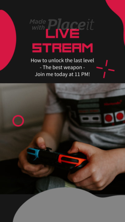 Instagram Story Video Generator to Announce a Gaming Live Stream 2556-el1