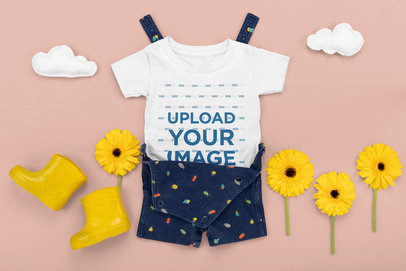 Outfit Mockup of a Baby's T-Shirt in a Summer Setting M1149