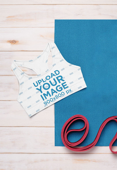 Mockup Featuring a Sublimated Sports Bra and Fitness Accessories m1190