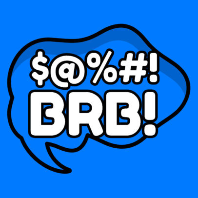 Sticker Design Maker Featuring a BRB Message 3446b-el1