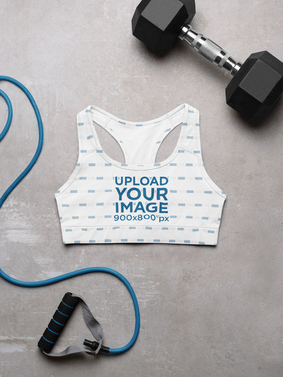 Sublimated Sports Bra Mockup Featuring a Dumbbell and a Jumping Rope m1175