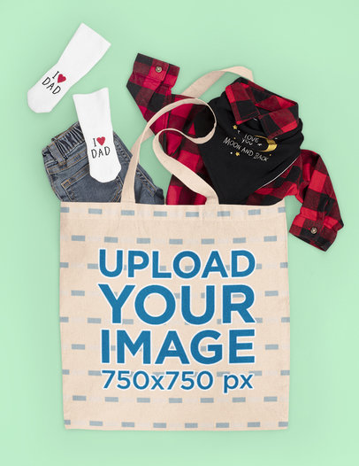 Tote Bag Mockup Featuring a Kid's Outfit m1154