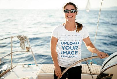 T-Shirt Mockup Featuring a Happy Woman on a Boat 40646-r-el2