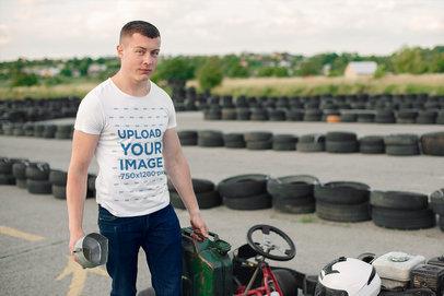 T-Shirt Mockup Featuring a Man at a Go-Karts Track 43174-r-el2