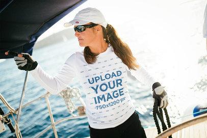 Long-Sleeve Tee Mockup of a Woman on a Boat 40644-r-el2