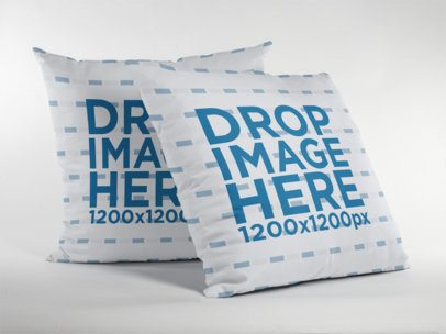 Pair of Pillows Mockup Standing on a White Surface a15114
