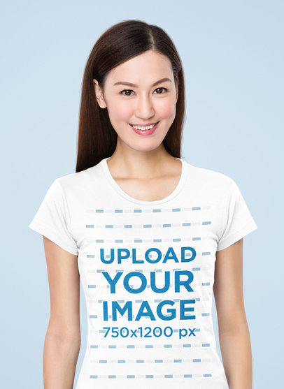 Round-Neck Tee Mockup Featuring a Smiling Woman at a Studio 46721-r-el2